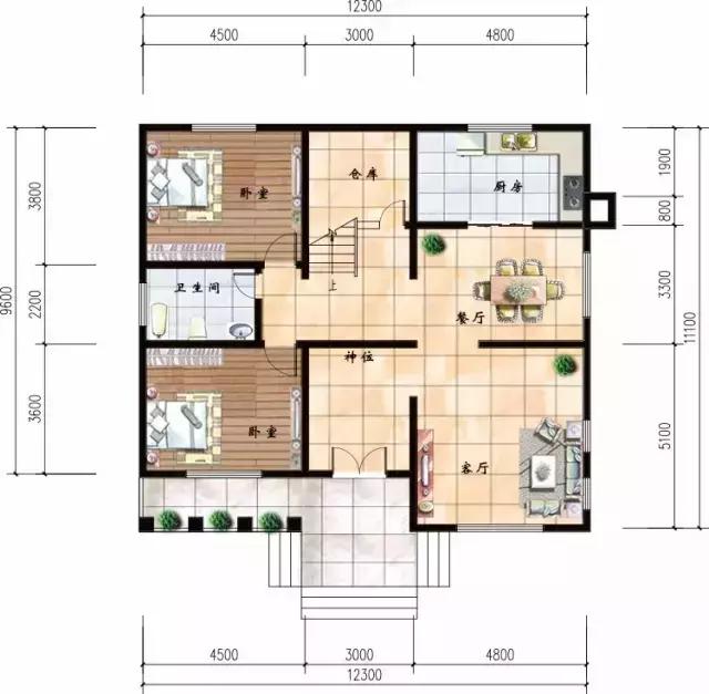 带堂屋的二层农村别墅图纸,设计师极力推荐的完美图片