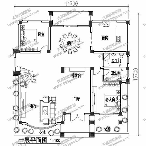 农村14.7x15.7米别墅设计图,你是不是也想建!