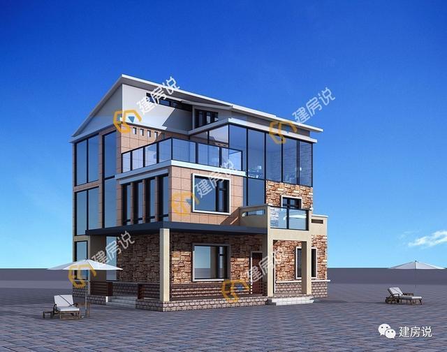 带阳光房三层农村别墅,年轻人情有独钟的现代风格