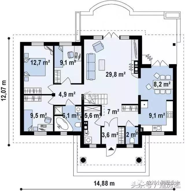 农村一层房屋设计图15米x12米建筑面积110平米