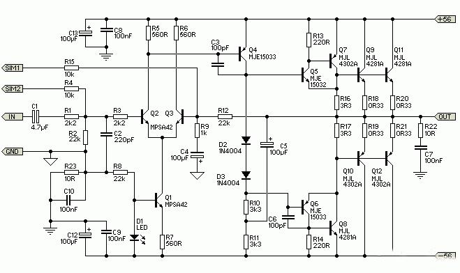 科技 正文   300w音频功率放大器电路原理图 以上就是300w音频功放