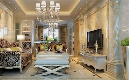 2,在进行装简欧风格的电视墙时,我们要注意到家具的选择搭配,在很多图片