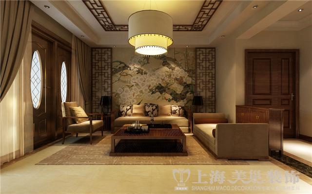 新中式风格装修复式户型效果图——入户门与客厅布局,沙发背景墙
