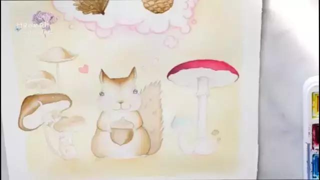 童话故事水彩插画手绘 可爱的小松鼠想什么呢?