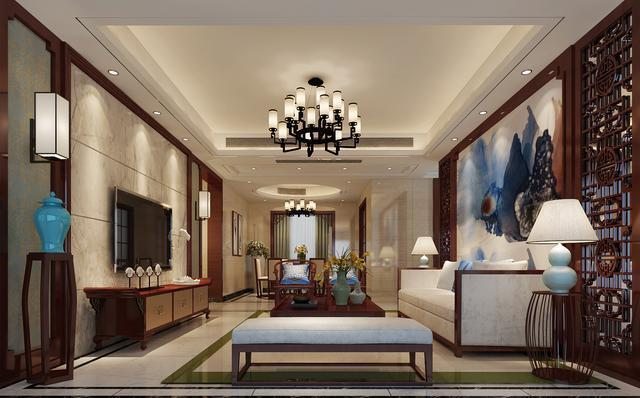 南昌莱蒙都会三房中式风装修——客厅图片