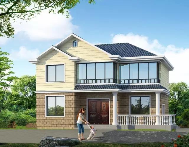 带阁楼的二层农村别墅,造价低,布局好的模范户型