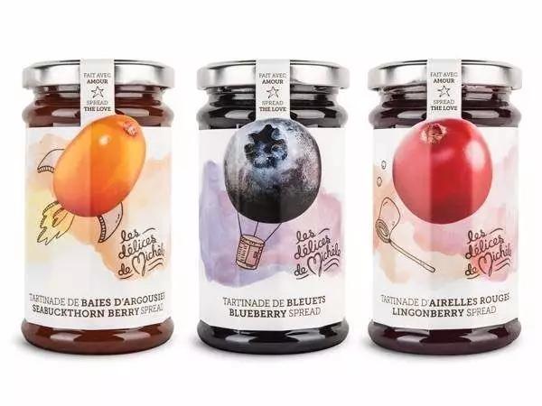无厘头的插图和水粉画效果结合,让这些浆果在标签上就像有趣的插