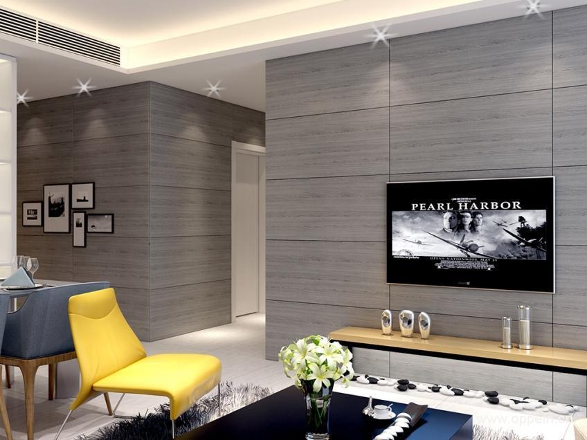 这款平板护墙板,简单的平面造型搭配欧铂尼孔雀灰色,既衬托了全屋主