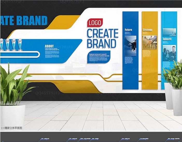 企业公司校园企业形象墙|文化墙设计矢量图8套下载