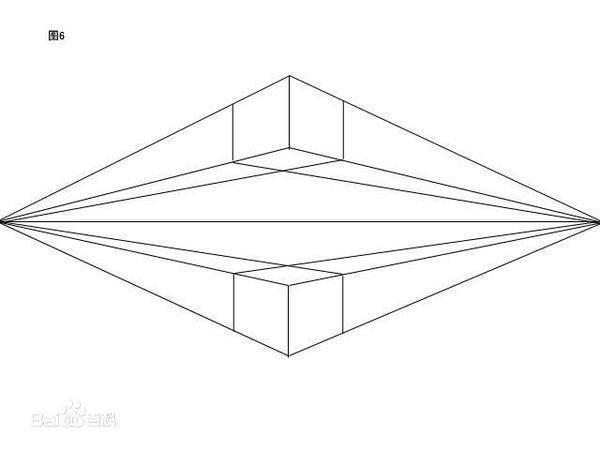 成交透视 (两点透视,所有物体向两个点消失)