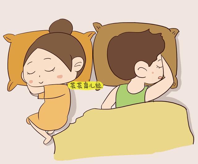 四,互不干扰型 夫妻双方各占床的一边,背朝对方睡觉.图片