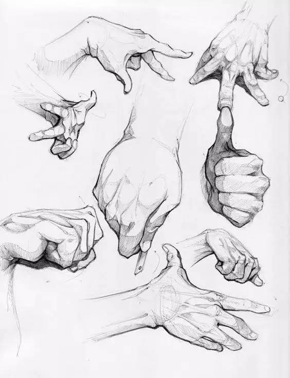 手绘画,看了小编想剁手 ▼ 关于手的线稿临摹手稿 在人物速写和创作时