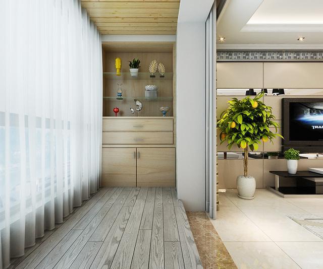 现代简约风客厅隔断电视背景墙装修效果图