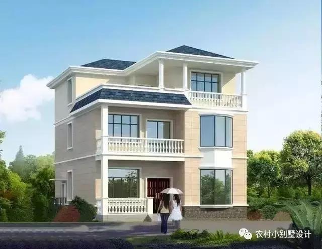 飘窗的三层农村别墅,简单大气,造价30万以内