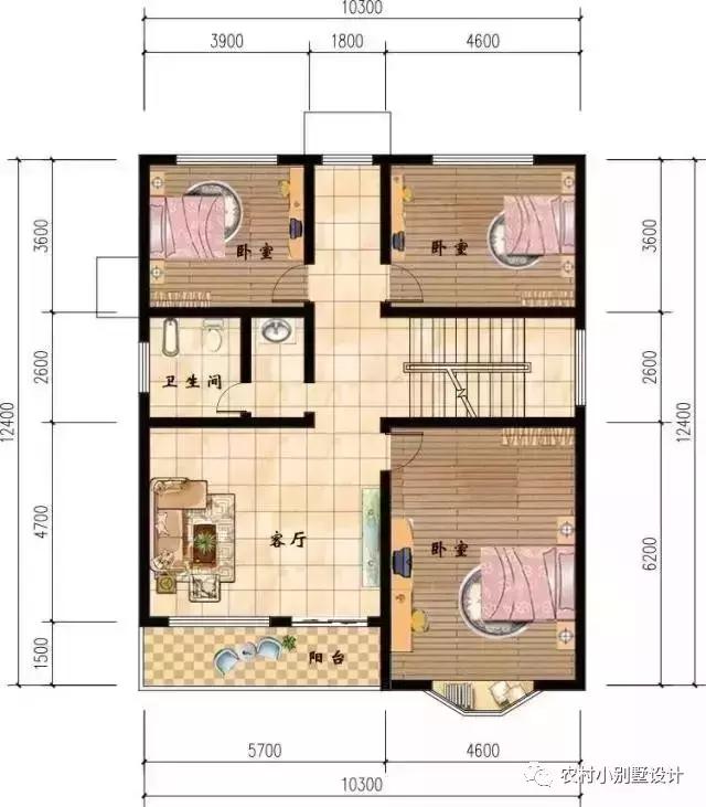 带飘窗的三层农村别墅,简单大气,造价30万以内