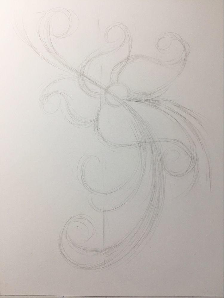 花朵铅笔手绘黑白画