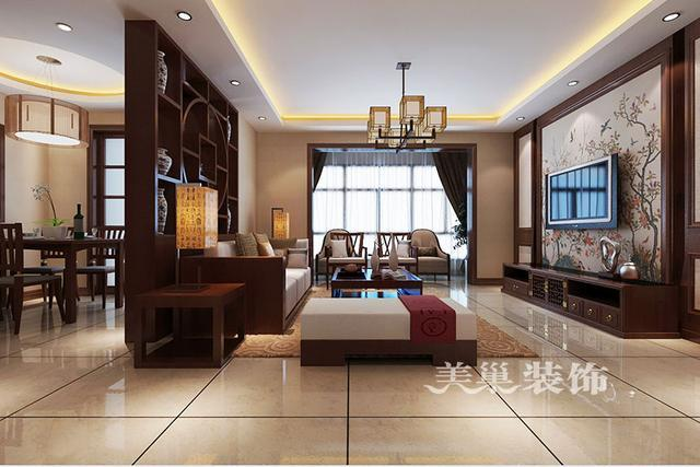 许昌三室,以酒柜隔断为背景墙,很有创意的设计