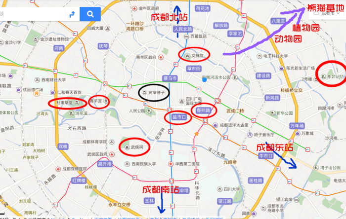 成都市旅游地图_成都旅游攻略-以游客的角度阐述_地图分享