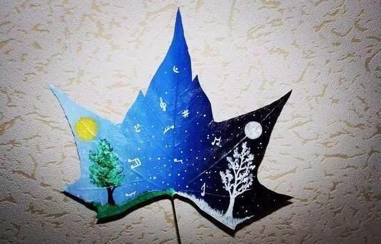 儿童颜料画叶子图片