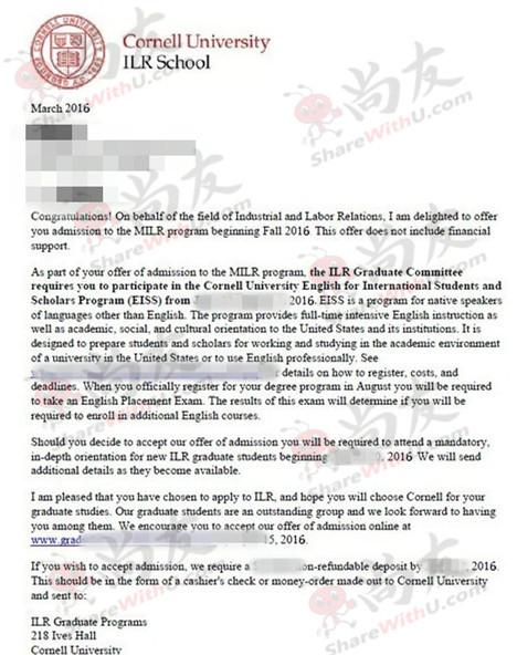 恭喜尚友Sun同学获得康奈尔大学offer!
