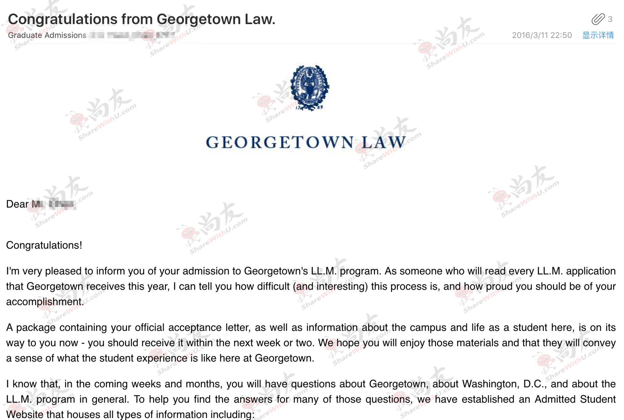 恭喜尚友Chen同学GPA3.3 拿下乔治城大学offer!