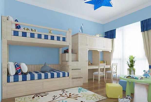 由于男孩好动,所以卧室内要预留足够活动空间让他们玩耍,不建议布置