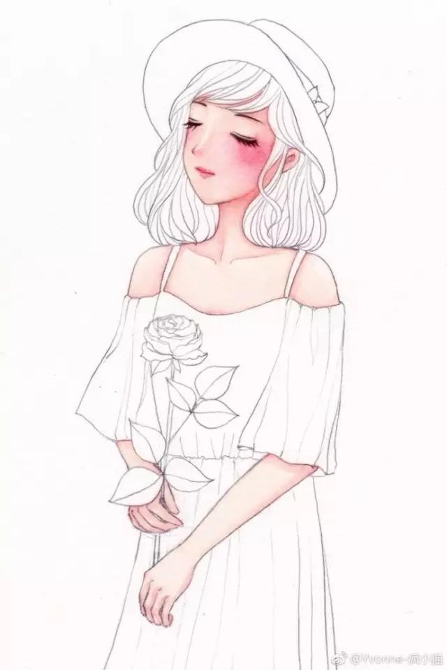 水彩人物教程,教你画美腻的小女孩一枚
