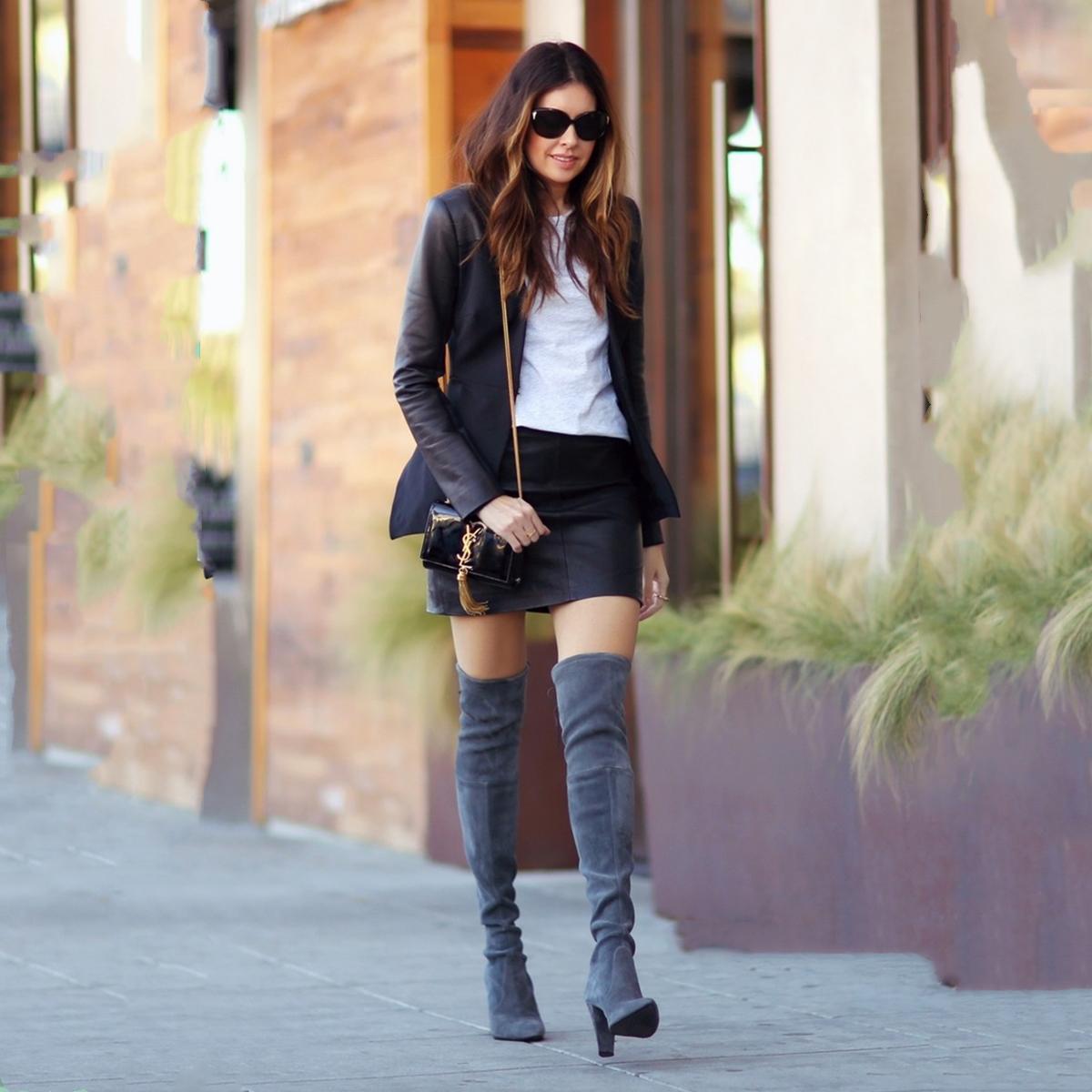 黑色长筒靴搭配_要高级穿麂皮,秋冬三种超实用麂皮单品