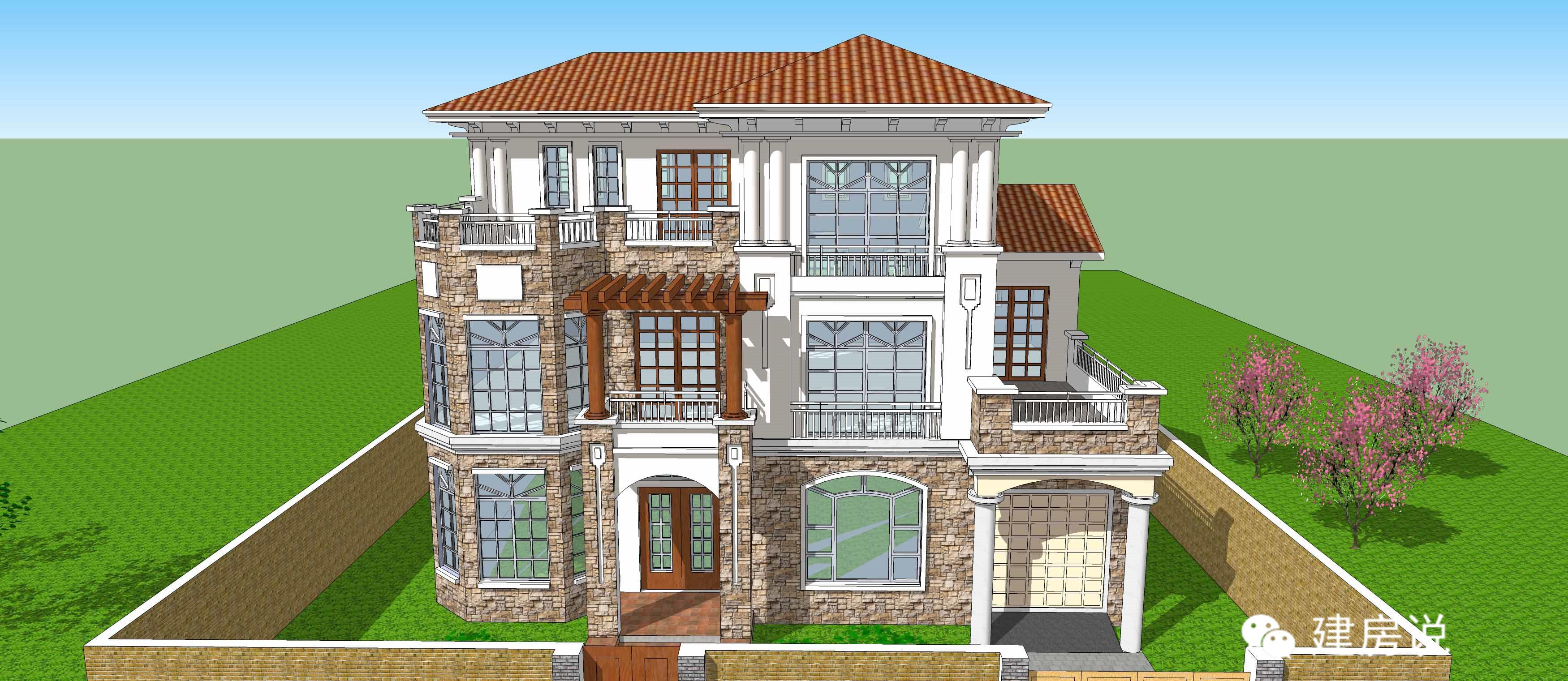 社会 正文  二层半农村别墅,一楼的大型落地窗和门口围廊,提升整体