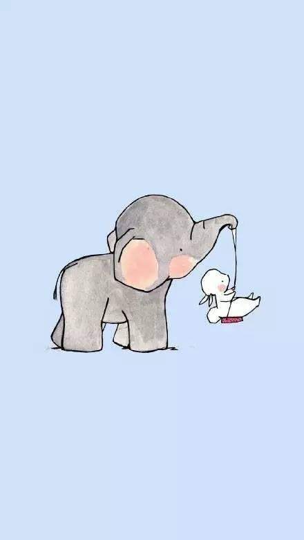 【卡通】漫画:大象与兔手机壁纸