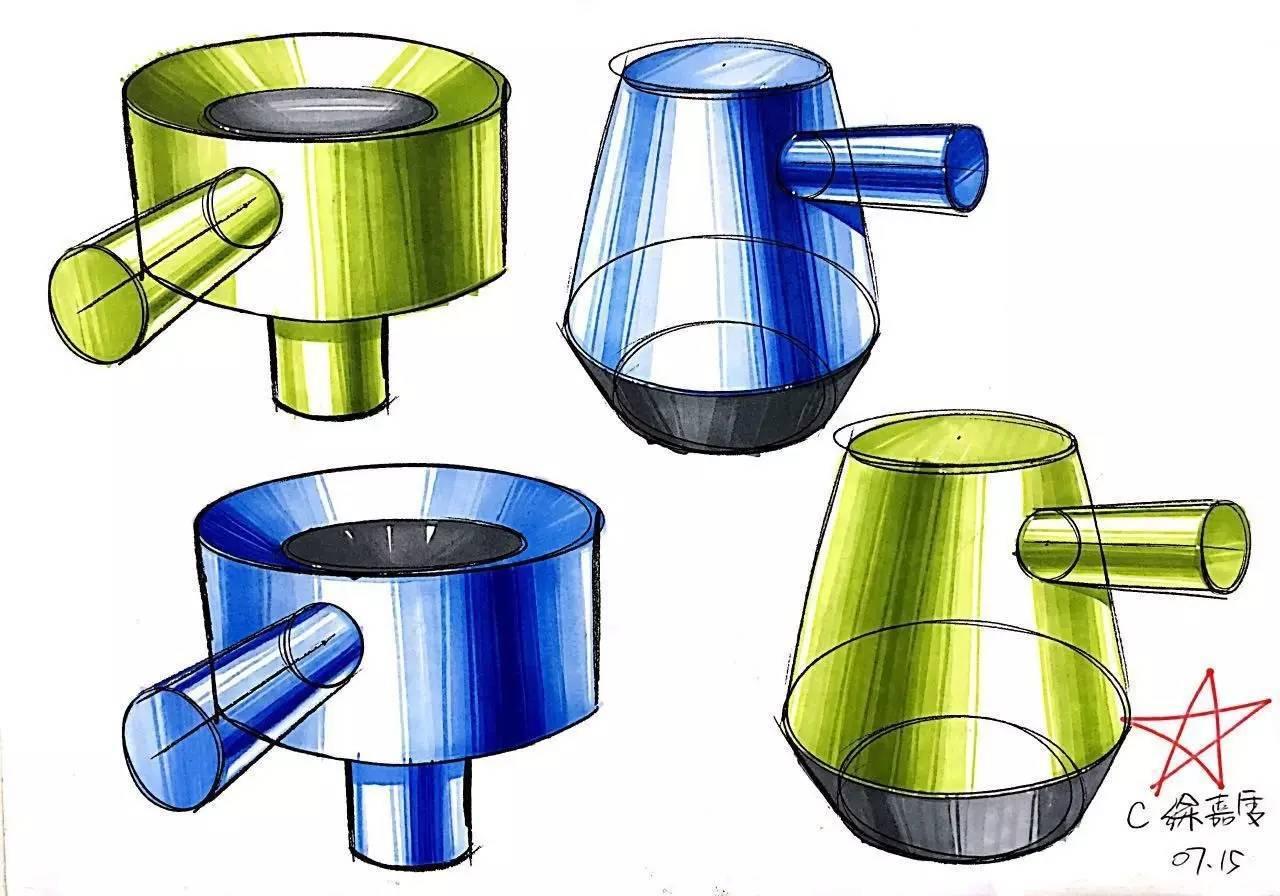 工业设计手绘 | 马克笔技法表达(材质篇)