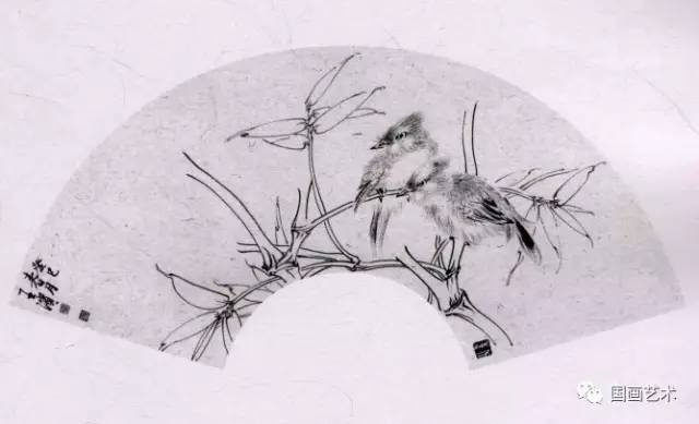 工笔画白描教学示范 扇面花鸟画稿