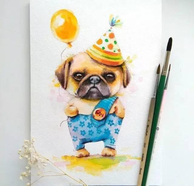 萌萌哒的手绘小动物插画 让人欲罢不能 来自genechka_djogan 水彩作品