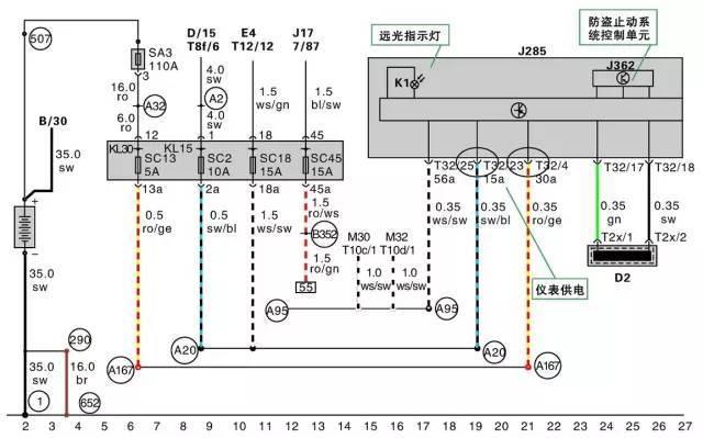 汽车仪表组系统电路图的识别与读取方法