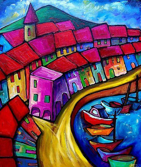 儿童创意美术作品:户外风景与多种小房子绘画,看着心情都好了图片