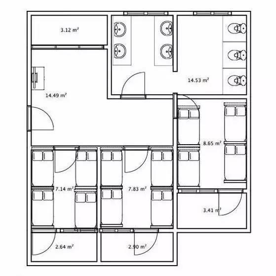 (宿舍平面图) 宿舍设置:上床下桌,四人一室(有小阳台),三室一厅一卫图片