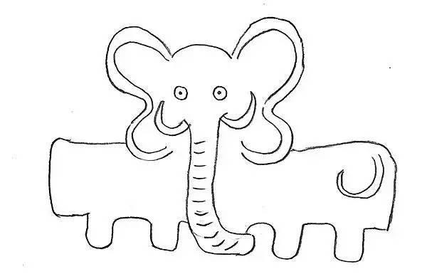 用灰色丙烯颜料进行涂色,涂出粉色的耳朵,大象的眼睛,象牙及鼻子上的