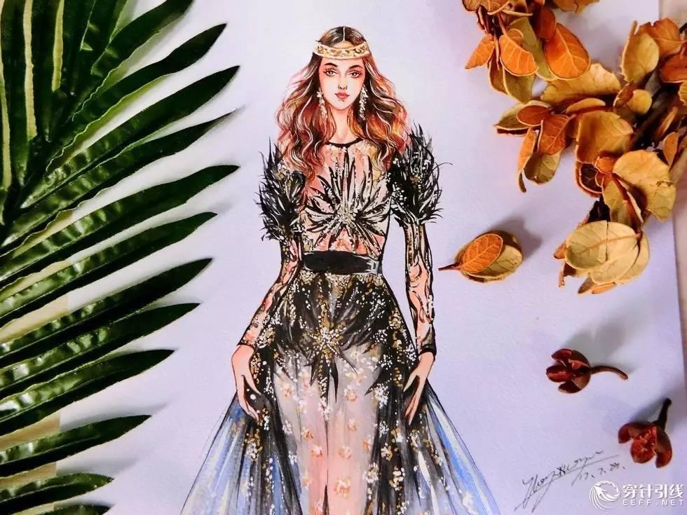 时装手绘 | 水彩礼服作品
