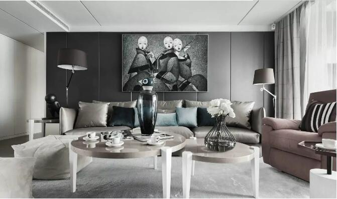 130平轻奢现代风格,高级灰演绎轻奢时尚之美---沙发背景墙图片
