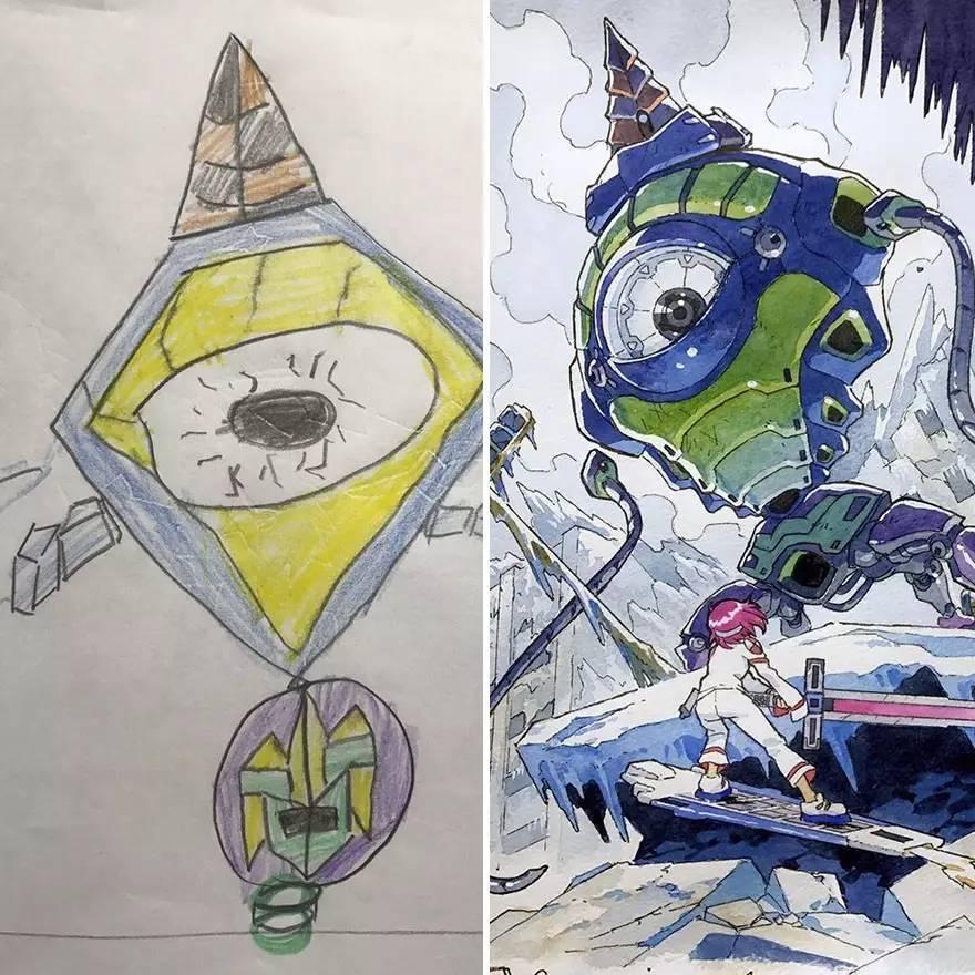 儿子画的女武士vs老爸的改造版   儿子画的大眼机器人   被老爸改造成了炫酷的战神   蒸汽庞克战争机器,很棒的想法~   老爸改造后的形象,带感!