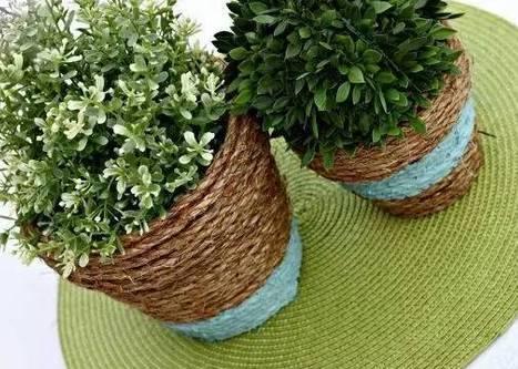 没关系,麻绳编织外衣,一秒变身个性十足的阳台小花盆,美翻惹!