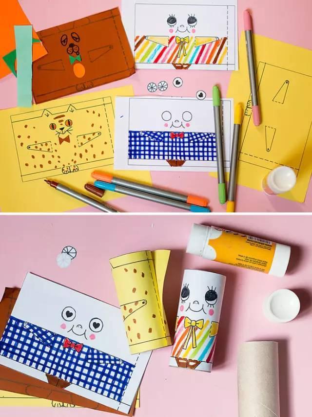 例如用卫生纸筒来制作一个漂亮的笔筒,制作各种小动物