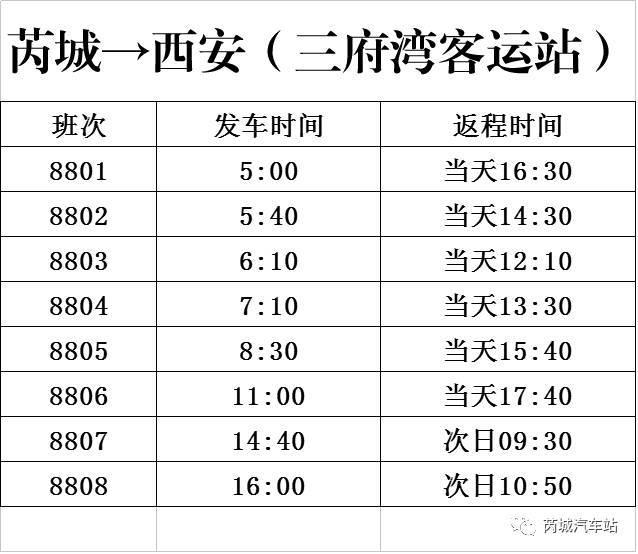 附:最新芮城—西安发车时刻表