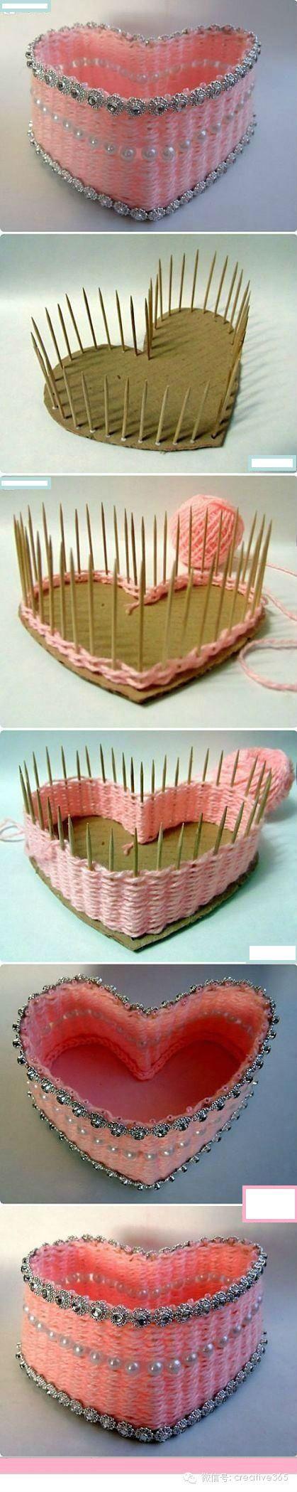 环保diy: 用牙签和毛线编织制作的首饰盒