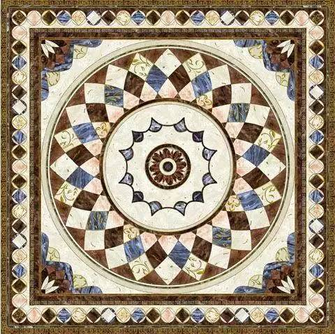图案非常丰富,按照几何外形划分,最常见的有长方形,正方形拼花,椭圆形