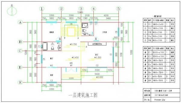 二层平面图:   三层平面图:   屋顶平面施工图:   背面:   开间12.9米,进深12米,由于受到地理位置的限制(拆掉老房子建新房),新房朝向只能是朝西.
