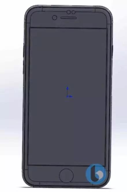 而在手机的背面,cad 图像显示的圆孔为苹果 logo 的位置,底部的矩形图片