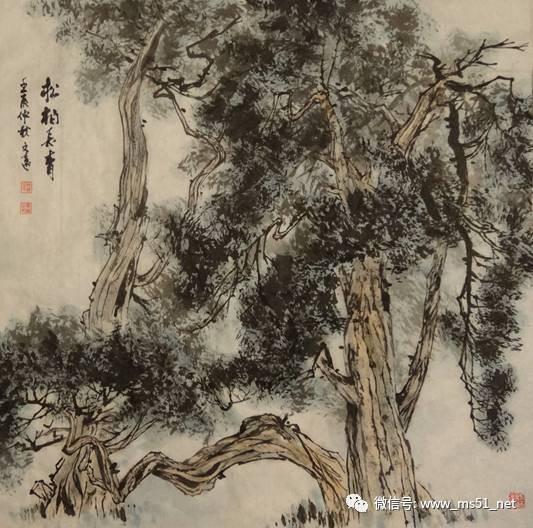 画松树 丛树 柳树 竹林,中国画树的画法大全图片
