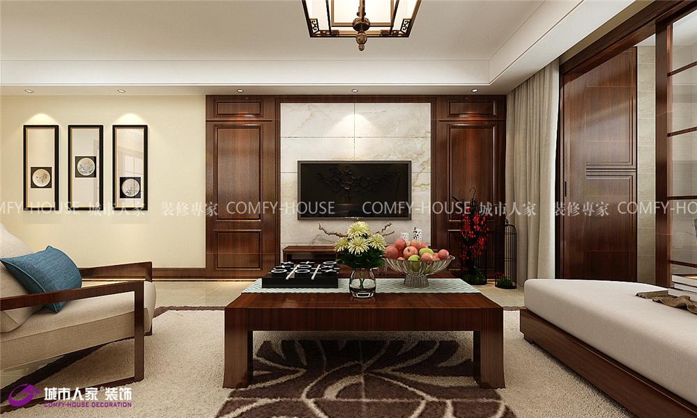 影视墙隐形门设计,内侧对称护墙板造型,视觉上延伸影视墙宽度,沙发墙