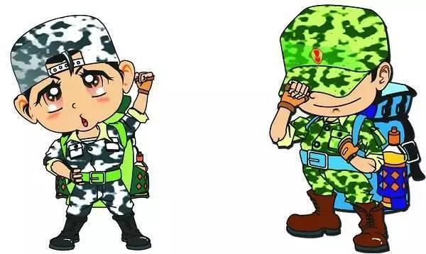 关于军训的卡通图片